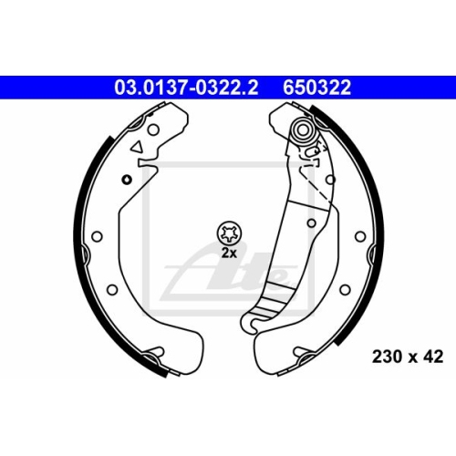 Set saboti frana Ate 03013703222, parte montare : punte spate