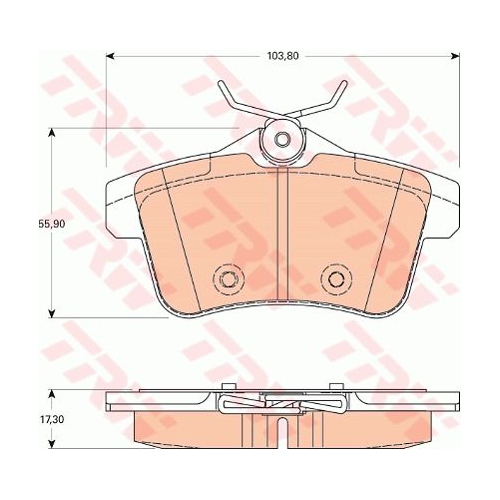 Set placute frana Trw GDB1828, parte montare : Punte spate