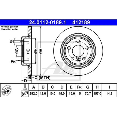Disc frana Ate 24011201891, parte montare : Punte spate