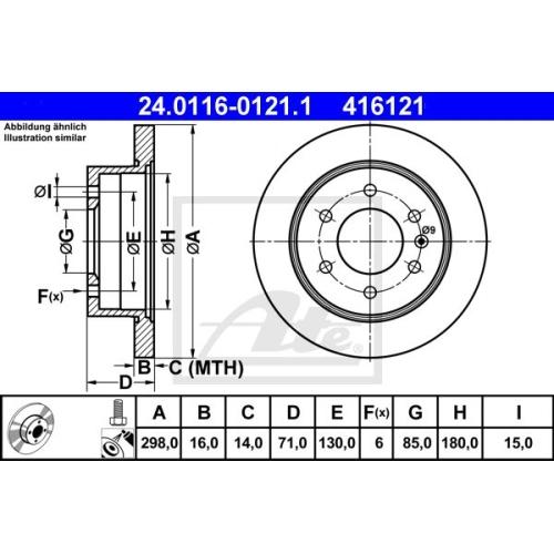Disc frana Ate 24011601211, parte montare : Punte spate