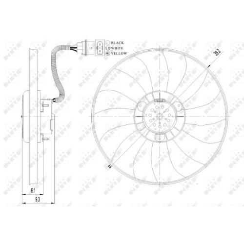 Ventilator radiator GMV Seat Cordoba (6l2), Ibiza 4 (6l1); Skoda Fabia 2 5J, Fabia 1 (6y), Roomster (5j); Vw Fox (5z1, 5z3), Polo (9n) Nrf 47410