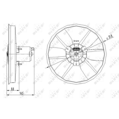 Ventilator radiator GMV Vw Caddy 2 Caroserie (9k9a), Corrado (53i), Golf 2 (19e, 1g1), Golf 3 (1h1), Passat (3a2, 35i), Vento (1h2) Nrf 47402