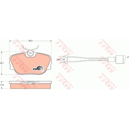 Set placute frana Trw GDB820, parte montare : Punte fata