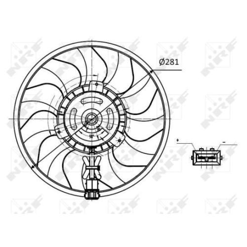 Ventilator radiator GMV Vw Transporter 4 Nrf 47418