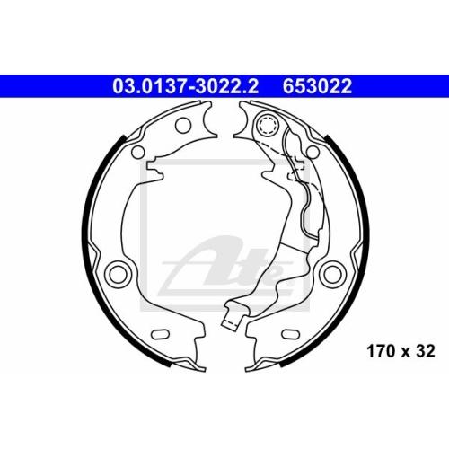 Set saboti frana mana Ate 03013730222, parte montare : punte spate