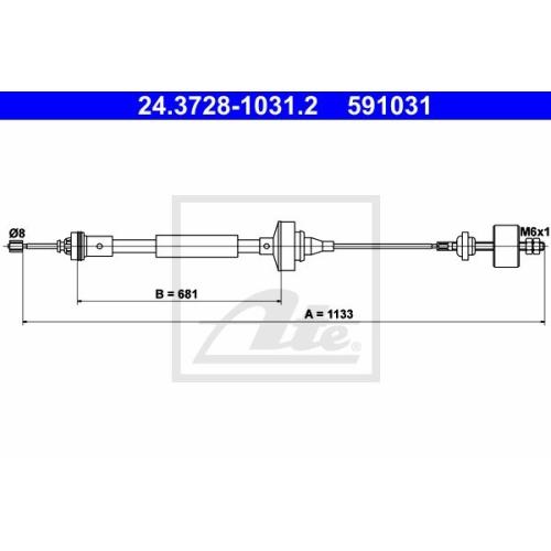 Cablu ambreiaj Dacia Logan (Ls), Logan Mcv (Ks), Sandero; , Ate 24372810312