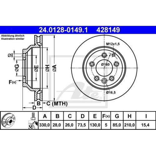 Disc frana Ate 24012801491, parte montare : Punte spate