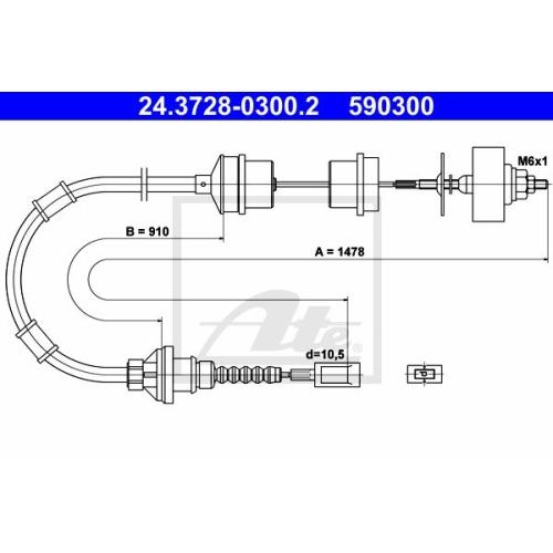 Cablu ambreiaj Peugeot Boxer (230p); Fiat Ducato (244); Citroen Jumper (230p), Ate 24372803002