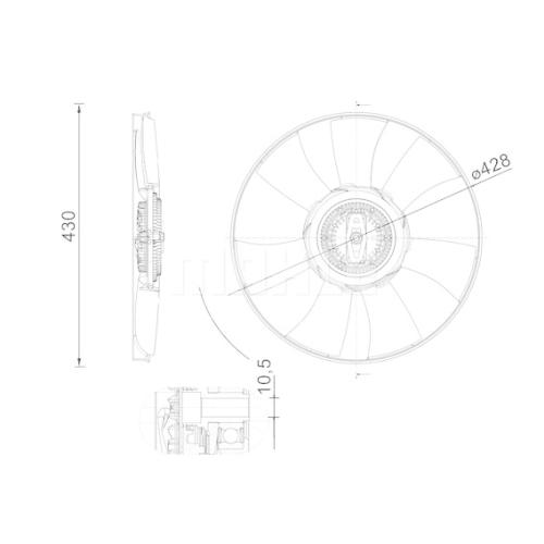 Termocupla ventilator radiator, Vascocuplaj Volkswagen Crafter 2017-, 428, MAHLE 95N223S1