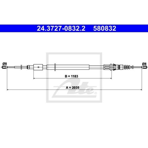 Cablu frana mana Peugeot 307 (3a/C), 307 Cc (3b); Citroen C4 1 (Lc), Ate 24372708322, parte montare : Spate