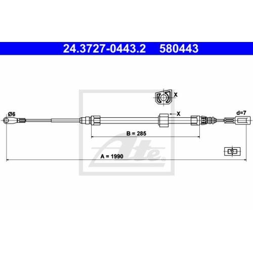 Cablu frana mana Vw Lt 28; Mercedes Sprinter (901, 902), Sprinter (903), Ate 24372704432, parte montare : Fata