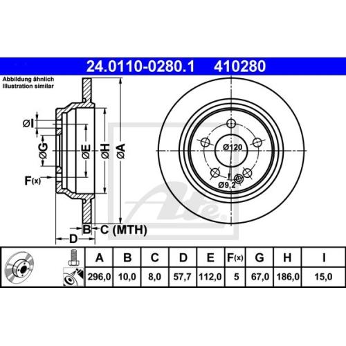 Disc frana Ate 24011002801, parte montare : Punte spate