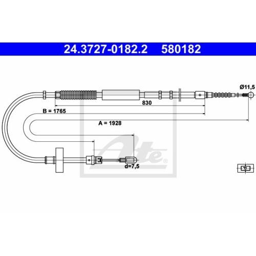 Cablu frana mana Audi A4 (8e2, B6), A4 (8ec, B7), Ate 24372701822, parte montare : Stanga, Spate