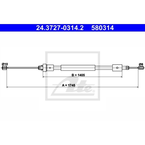 Cablu frana mana Citroen Berlingo (Mf); Peugeot Partner (5), Ate 24372703142, parte montare : Stanga, Spate