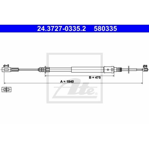 Cablu frana mana Citroen C5 (Dc/RC), Ate 24372703352, parte montare : Fata