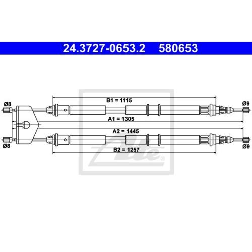 Cablu frana mana Mazda 2 (Dy); Ford Fiesta 5 (Jh , Jd), Fusion (Ju), Ate 24372706532, parte montare : Spate