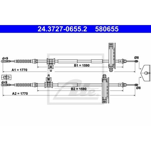 Cablu frana mana Ford Focus (Daw, Dbw), Ate 24372706552, parte montare : Spate