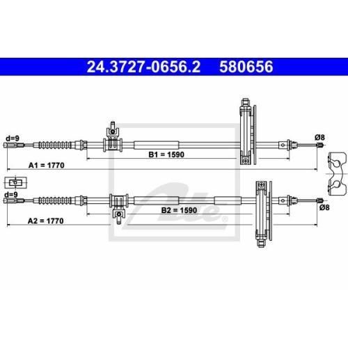 Cablu frana mana Ford Focus (Daw, Dbw), Ate 24372706562, parte montare : Spate