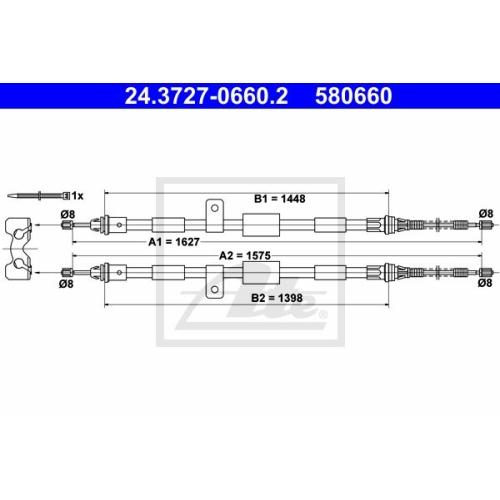 Cablu frana mana Mazda 121 3 (Jasm, Jbsm); Ford Fiesta 4 (Ja , Jb), Ka (Rb), Puma (Ec), Street Ka (Rl2), Ate 24372706602, parte montare : Spate