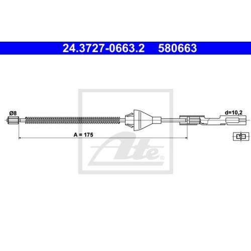 Cablu frana mana Mazda 2 (Dy); Ford Focus (Daw, Dbw), Ate 24372706632, parte montare : Spate