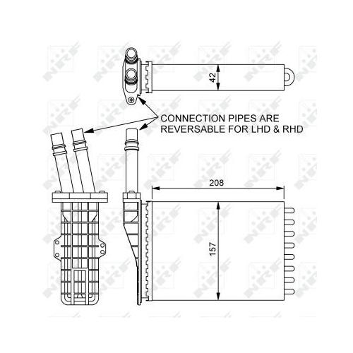 Radiator incalzire habitaclu Nrf 54245