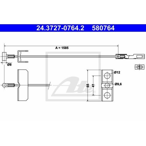 Cablu frana mana Renault Trafic 2; Opel Vivaro, Ate 24372707642, parte montare : Central