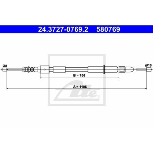Cablu frana mana Opel Corsa C (F08, F68), Ate 24372707692, parte montare : Stanga, Spate