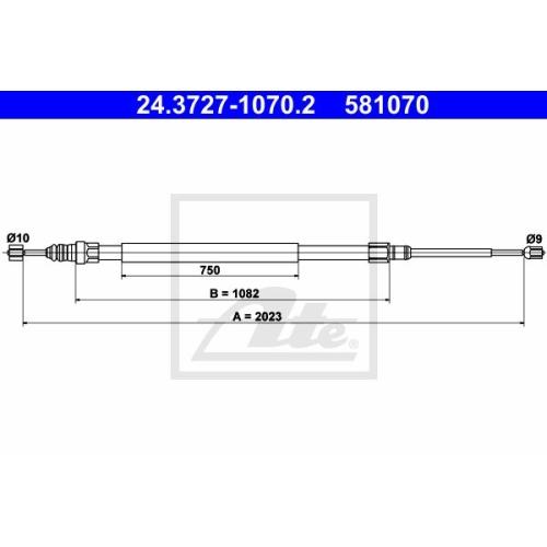 Cablu frana mana Renault Megane 2 (Bm0/1 , Cm0/1), Megane 2 Combi (Km0/1), Ate 24372710702, parte montare : Spate