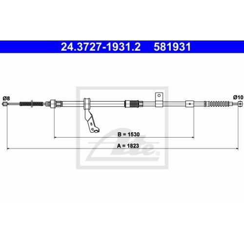 Cablu frana mana Toyota Avensis (T25), Ate 24372719312, parte montare : Dreapta, Spate