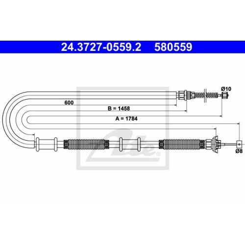 Cablu frana mana Fiat Doblo (119/ 223), Ate 24372705592, parte montare : Dreapta, Spate