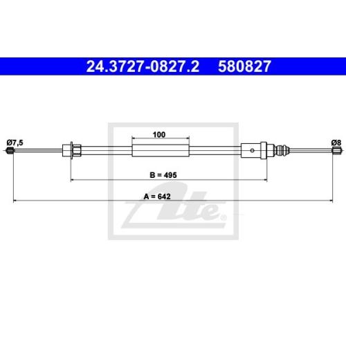 Cablu frana mana Peugeot 406 (8b), Ate 24372708272, parte montare : Dreapta, Spate