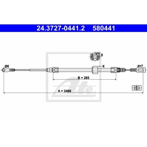 Cablu frana mana Vw Lt 28; Mercedes Sprinter (901, 902), Sprinter (903), Ate 24372704412, parte montare : Fata