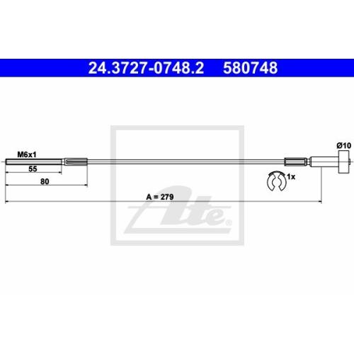 Cablu frana mana Opel Astra G (F48 , F08), Vectra B (36), Zafira A (F75), Ate 24372707482, parte montare : Fata