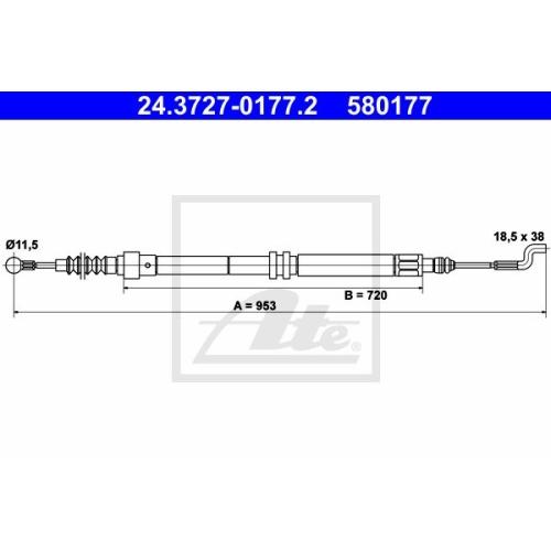 Cablu frana mana Vw Transporter 4, Ate 24372701772, parte montare : Spate