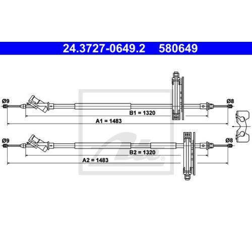 Cablu frana mana Ford Focus (Daw, Dbw), Ate 24372706492, parte montare : Spate