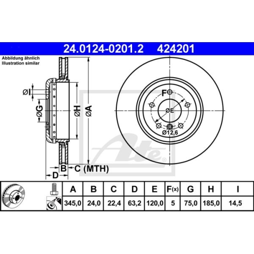 Disc frana Ate 24012402012, parte montare : Punte spate