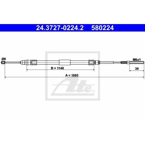 Cablu frana mana Bmw Seria 3 (E46), Ate 24372702242, parte montare : Stanga, Spate