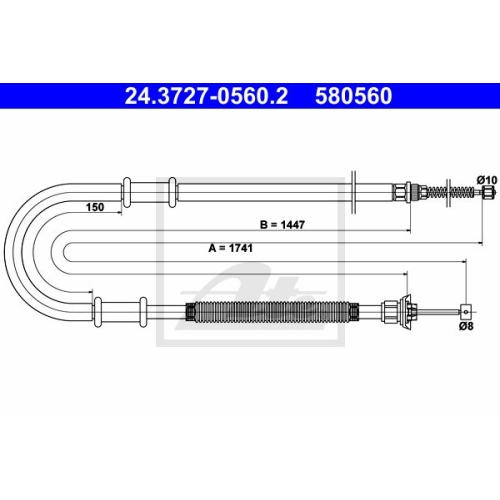 Cablu frana mana Fiat Doblo (119/ 223), Ate 24372705602, parte montare : Stanga, Spate