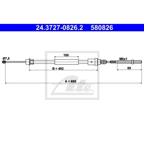 Cablu frana mana Peugeot 406 (8b), Ate 24372708262, parte montare : Stanga, Spate