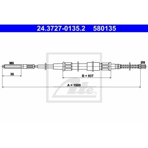 Cablu frana mana Vw Golf 3 (1h1), Vento (1h2), Ate 24372701352, parte montare : Spate