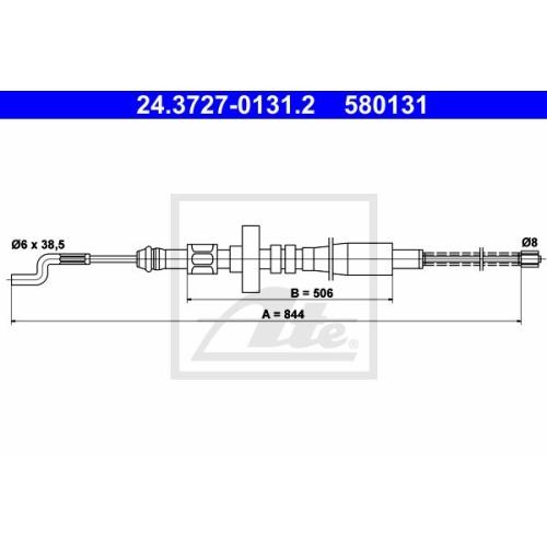 Cablu frana mana Vw Transporter 4, Ate 24372701312, parte montare : Spate