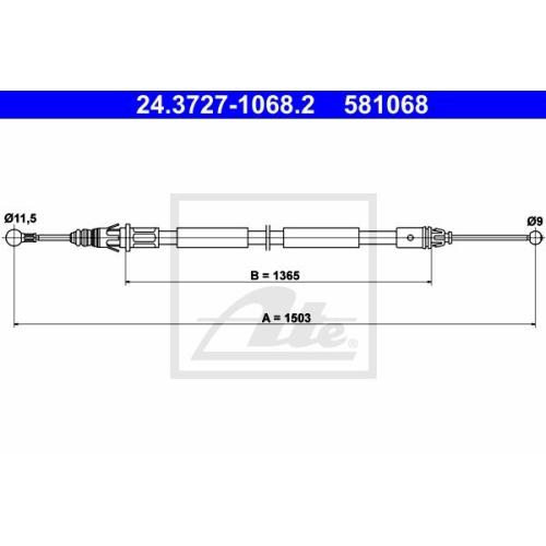 Cablu frana mana Nissan Primastar (X83); Renault Trafic 2; Opel Vivaro, Ate 24372710682, parte montare : Stanga, Spate