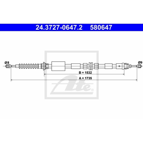 Cablu frana mana Ford Mondeo 3 (B5y), Ate 24372706472, parte montare : Spate
