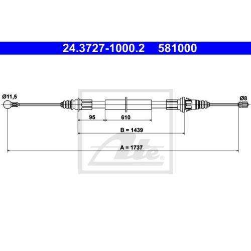 Cablu frana mana Renault Master 2; Opel Movano (U9, E9), Ate 24372710002, parte montare : Spate