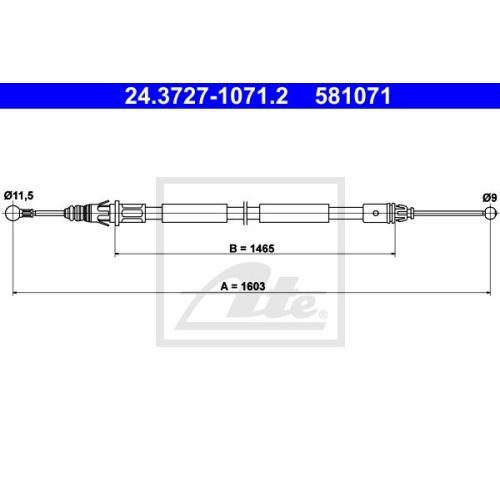 Cablu frana mana Nissan Primastar (X83); Renault Trafic 2; Opel Vivaro, Ate 24372710712, parte montare : Dreapta, Spate