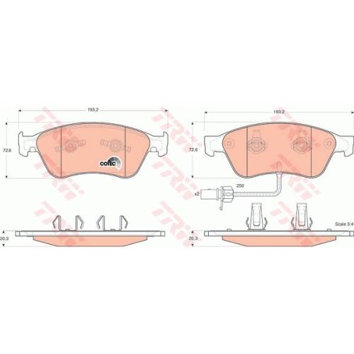 Set placute frana Trw GDB1553, parte montare : Punte fata
