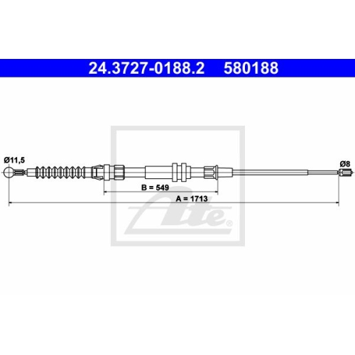 Cablu frana mana Vw Caddy 3 , Ate 24372701882, parte montare : Spate