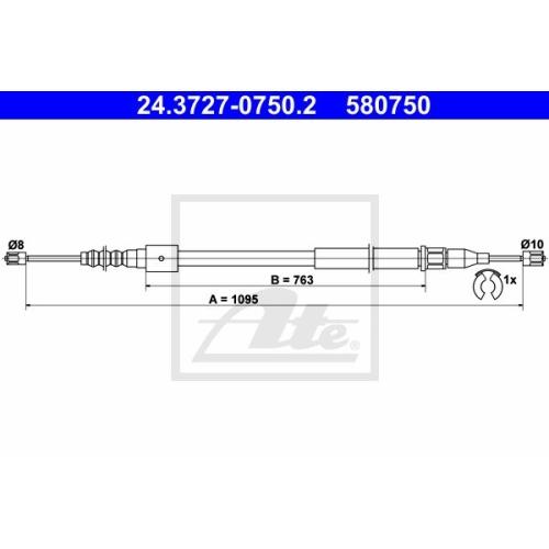 Cablu frana mana Opel Corsa C (F08, F68), Tigra Twintop, Ate 24372707502, parte montare : Stanga, Spate