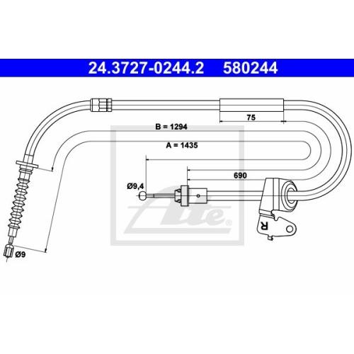 Cablu frana mana Mini Mini (R50, R53, R52), Ate 24372702442, parte montare : Dreapta, Spate
