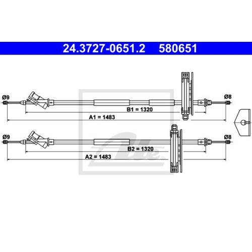 Cablu frana mana Ford Focus (Daw, Dbw), Ate 24372706512, parte montare : Spate